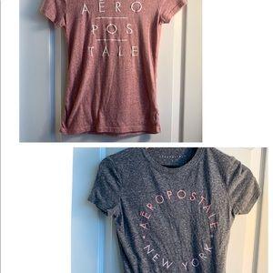 TWO Aeropostale T-Shirts Size Small pink & gray